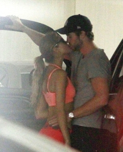 **EXCLUSIVE** THE KISS THAT SAYS IT'S OVER WITH MILEY: Liam Hemsworth is seen kissing new flame Eiza Gonzalez in a parking garage